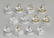 Schneekugel Engel silber/weiß oder gold/weiß diverse Motive 9 cm