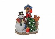 Lichthaus G.Wurm Miniatur Schneemann mit Baum und Vogelkasten 7 cm