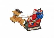 Lichthaus G.Wurm  Zubehör weihnachtliche Miniatur Weihnachtsmann Schlitten Rentiere 9x5x3 cm