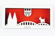 Köln Colonia Cologne Kühlschrank Holz Magnet Skyline 3D Souvenier Geißbock