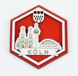 Köln Colonia Cologne Kühlschrank Holz Magnet Skyline Souvenier Sechseck