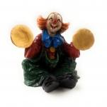 Clown Figur mit Becken sizend Skulptur Kunstguß v. Claudio Vivian by Faro Italien