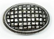Schließe Buckle Gürtel-Schnalle Metall Silberfarben Waffelmuster für 4 cm Schnallen