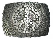 Schließe Buckle Gürtel-Schnalle Peace Metall silber dunkel für 4 cm Schnallen