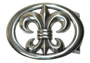 Schließe Buckle Gürtel-Schnalle Lilie Metall silber für 4 cm Designer Schnallen