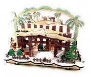 Schwibbogen Weihnachts Krippe LED Licht bunt Krippenstall 30x20x10 cm