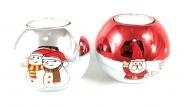 Teelicht Set 2 Stück Glas Kugel Schneemann Weihnachtsmann