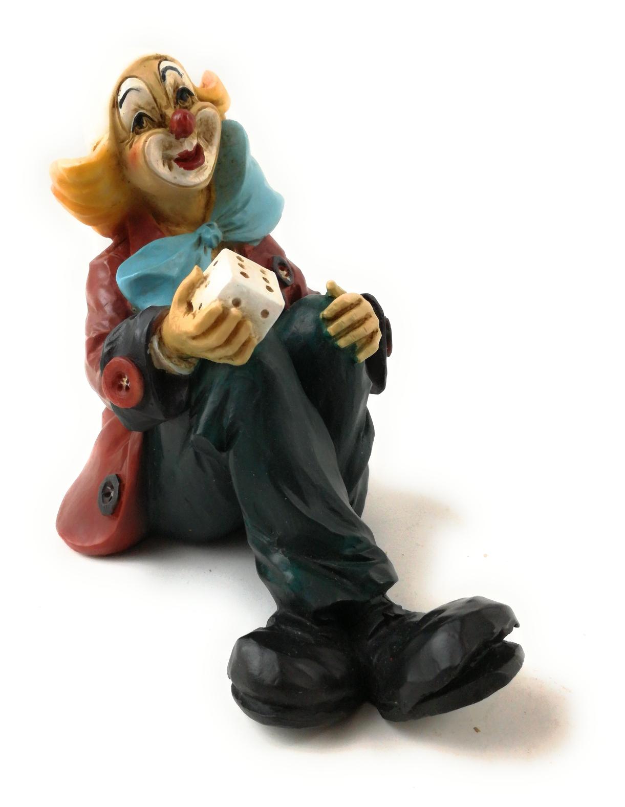 Clown sitzend mit 1 Würfel 17 cm von Claudio Vivia by Faro Italien Kunstguß